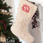 Gold Dot Stocking, Monogram Stocking, Christmas Stocking, Monogram Christmas Stocking, Personalized Stockings, Gold Dot Stocking