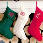 Knit Stocking, Cable Knit Monogram Stocking, Monogram Christmas Stocking, Personalized Stocking, Red Knit Stocking, Green Knit Stocking