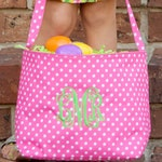 Pink Dot Easter Bucket Tote, Personalized Easter Basket, Personalized Bucket Tote, Monogram Easter Basket, Kids Personalized Easter Basket