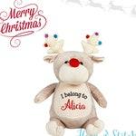 Taupe Reindeer Cubbie Personalized Plush Animal Stuffie Keepsake for Christmas, Reindeer Cubbie, Reindeer Stuffie, Personalized Reindeer