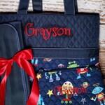 Navy Robot Diaper Bag, Zipper Pouch & Changing Pad with Monogram, Robot Diaper Bag, Monogram Boys Diaper Bag Set, Boy Diaper Bag