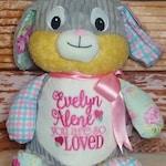 Girl Bunny Personalized Harlequin Cubbies Plush Keepsake Birth, Birthday, Graduation, Plush Keepsake Birth, Birthday, Graduation,  Baby Gift