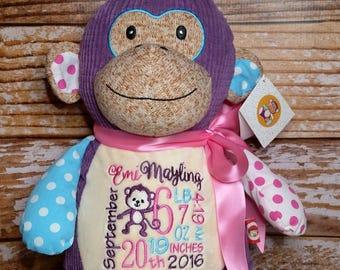 Purple Monkey Personalized Harlequin Cubbies Plush Keepsake Birth, Birthday, Graduation, Plush Keepsake Birth, Graduation, Baby Gift