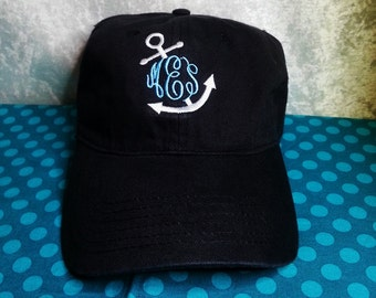 142a7690a3d21 Anchor Monogram Embroidered Hat in Assorted Colors