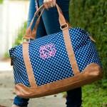 New York Dot Viv & Lou® Weekender, Dot Weekender, Navy Travel Bag, Viv and Lou Weekender, Monogram Travel Bag, Overnight Bag, Weekender