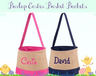 Burlap Easter Basket Bucket, Personalized Easter Basket, Personalized Bucket, Monogram Easter Basket, Easter Basket, Monogram Easter Basket