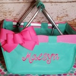 Mint Mini Market Tote with Ribbon Monogrammed Personalized, Grad Gift, Easter Basket, Easter Market Tote, Kids Personalized Easter Basket