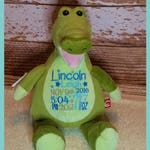 Crocodile Personalized Cubbies Plush Keepsake Birth, Birthday, Graduation, Plush Keepsake Birth, Birthday, Graduation, Baby Gift