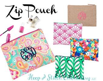 Monogram Zip Pouch Poppy Zip Pouch Floral Beach Bag Monogram Zip Pouch Beach Zip Tote Bathing Suit Bag