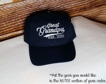 Great Grandpa established 2017 Hat or XXXX Embroidered Perfect for Dad d97a04544f06