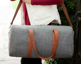 Gray Townsend Viv & Lou® Duffel Bag, Gray Duffle Bag, Viv and Lou® Duffle Bag, Monogram Duffel Bag, Monogram Duffle Bag, Plaid Duffle Bag