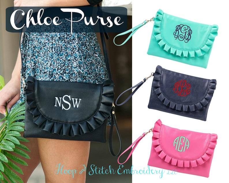 Chloe Ruffle Purse Viv & Lou® Monogram Purse Personalized image 0
