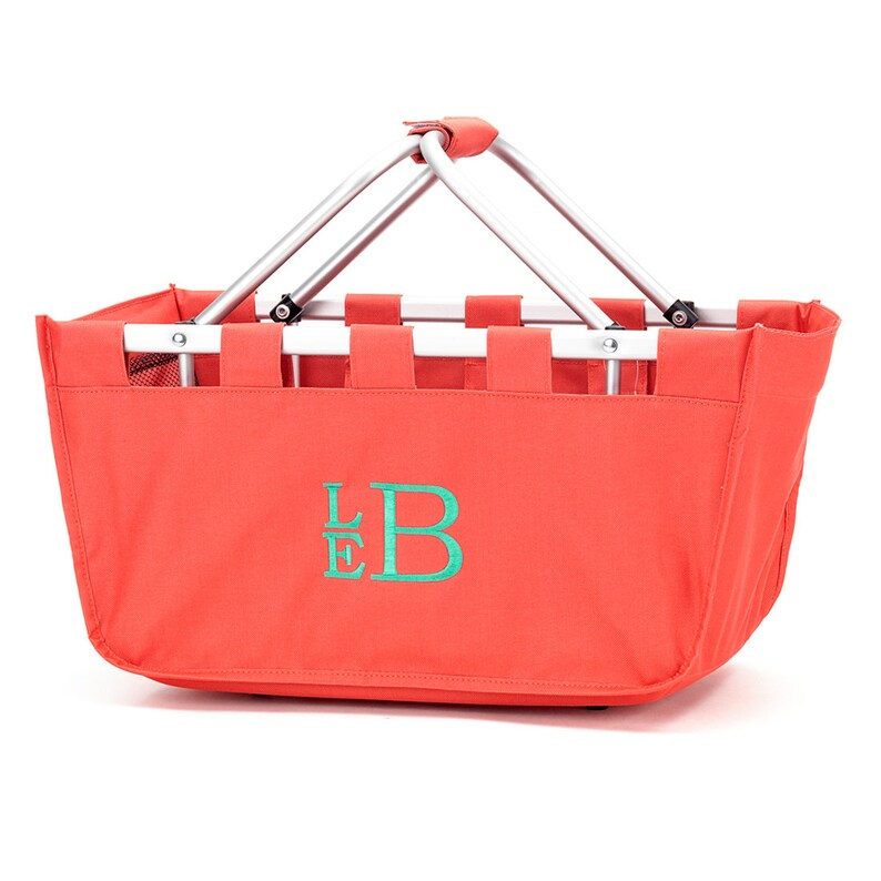 Coral Market Tote with Ribbon Monogrammed Personalized in image 0