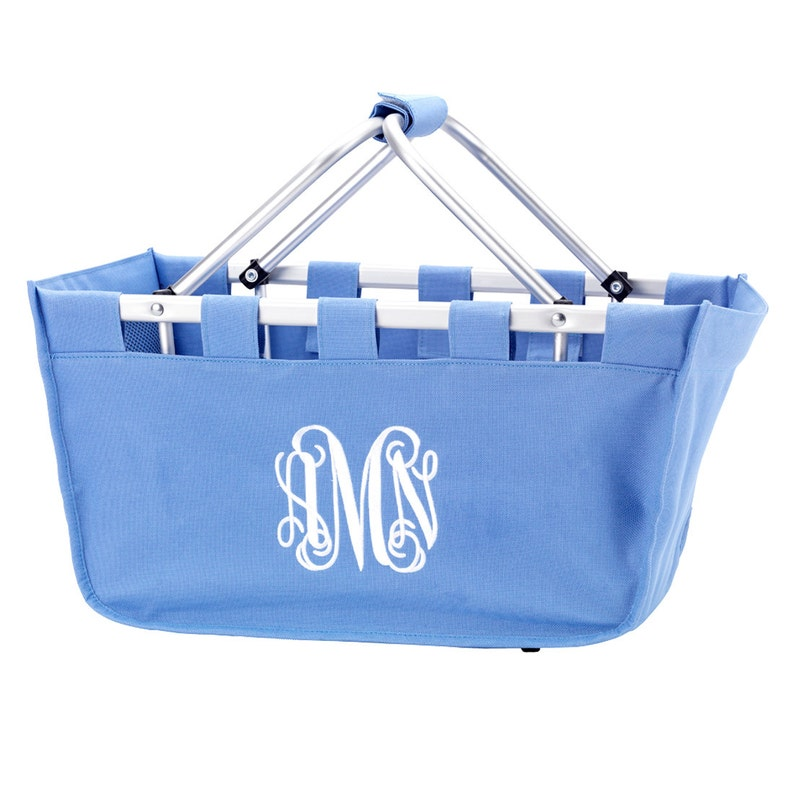 Hydrangea Market Tote with Ribbon Monogrammed Personalized in image 0