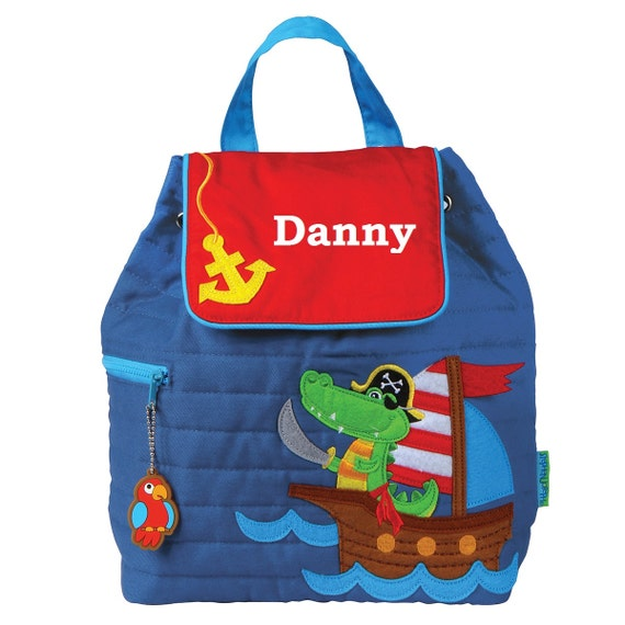 44d5c68f31b9 Pirate Alligator Blue Quilted TODDLER Backpack Stephen Joseph®