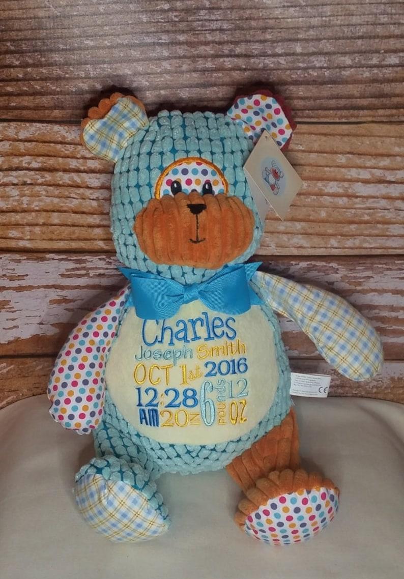 Bear Personalized Harlequin Cubbies Plush Keepsake Birth image 0