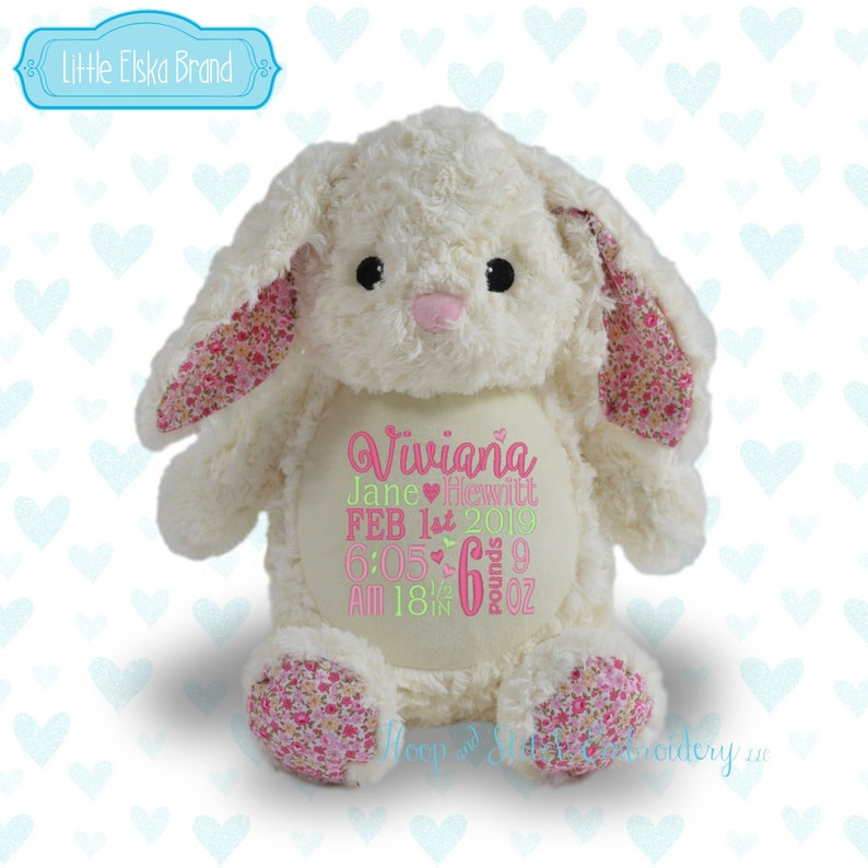 White Floral Bunny Personalized Plush Little Elska Bunny image 0