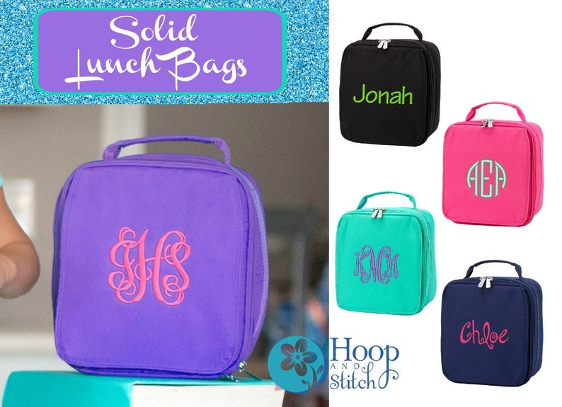 Personalized Lunch Bag Monogram Lunch Bag Hot Pink Lunch image 0