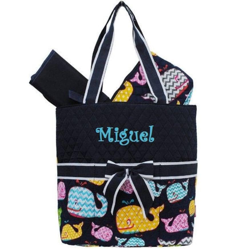 Monogram Whale Diaper Bag Zipper Pouch /& Changing Pad with Monogram Navy Whale Diaper Bag Navy Whales with Chevron Diaper Bag