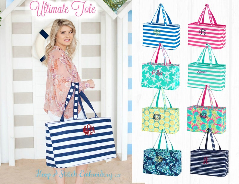 Ultimate Tote Summer with Monogram Ultimate Travel Tote with Stripe Navy