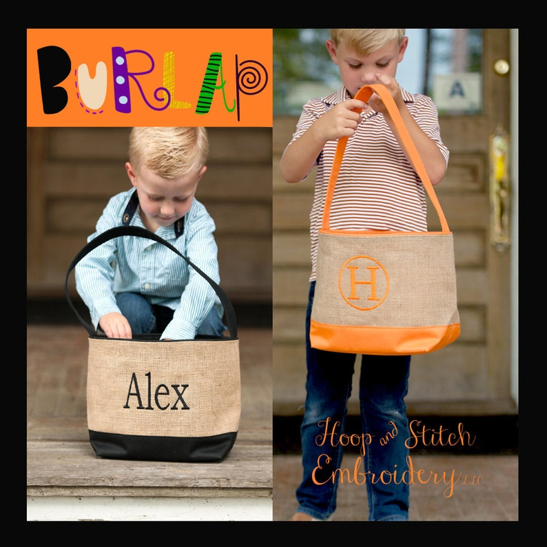 Burlap Halloween Bucket Personalized Halloween Tote image 0