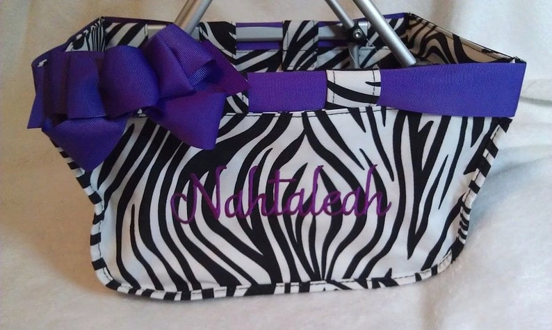 Zebra Mini Market Tote with Ribbon Monogrammed Personalized image 0