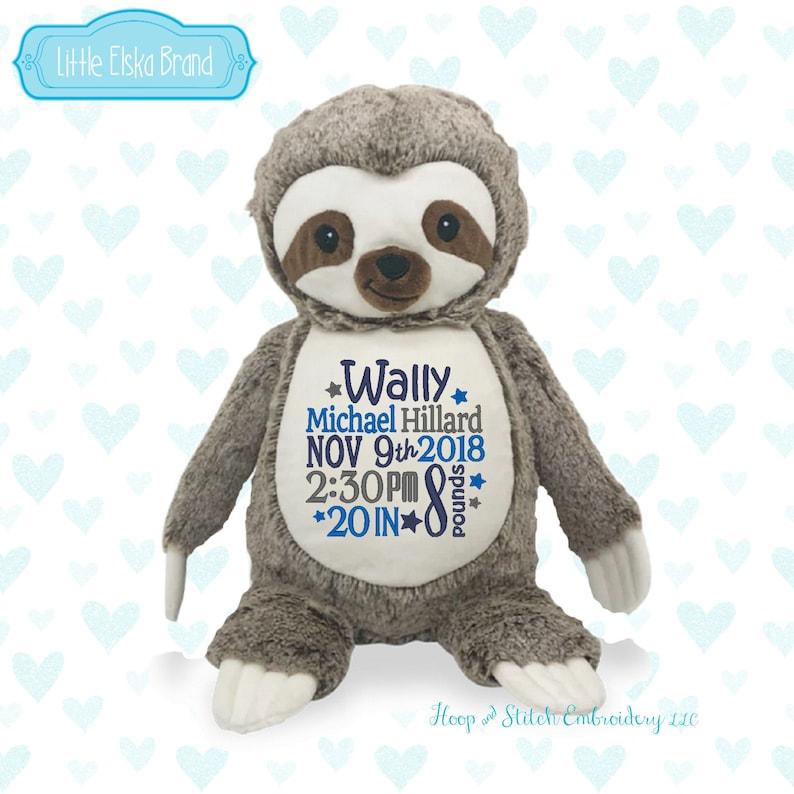 Sloth Personalized Stuffie Plush Keepsake Birth irthday image 0