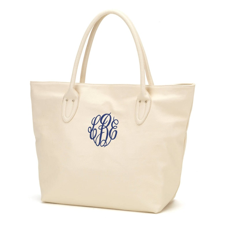 Cream Monogram Purse Leather Look in Spring Trendy Colors image 0