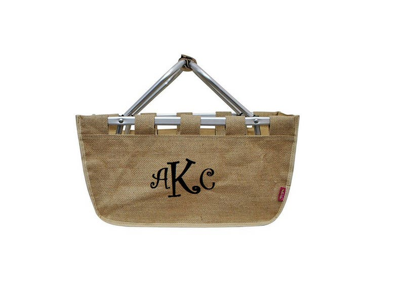 Jute Market Tote with Ribbon Monogram Personalized in Easter image 0