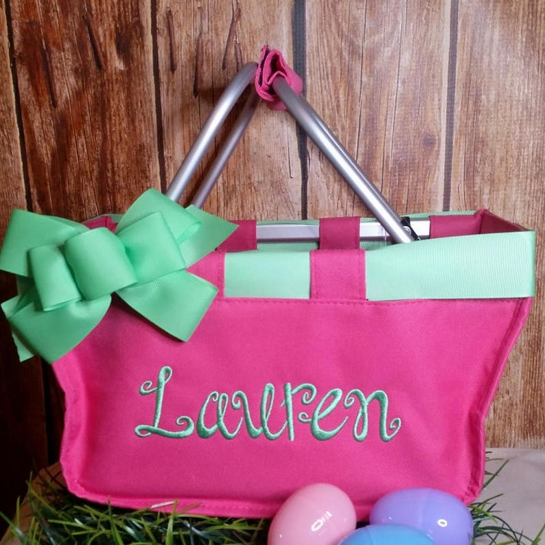 Hot Pink Mini Market Tote with Ribbon Monogrammed image 0