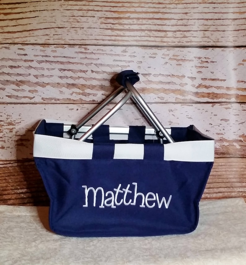 Navy Mini Market Tote with Ribbon Monogrammed Personalized image 0