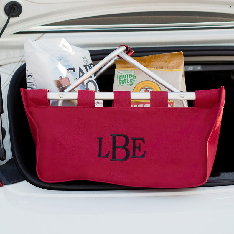 Garnet Market Tote with Ribbon Monogrammed Personalized in image 0