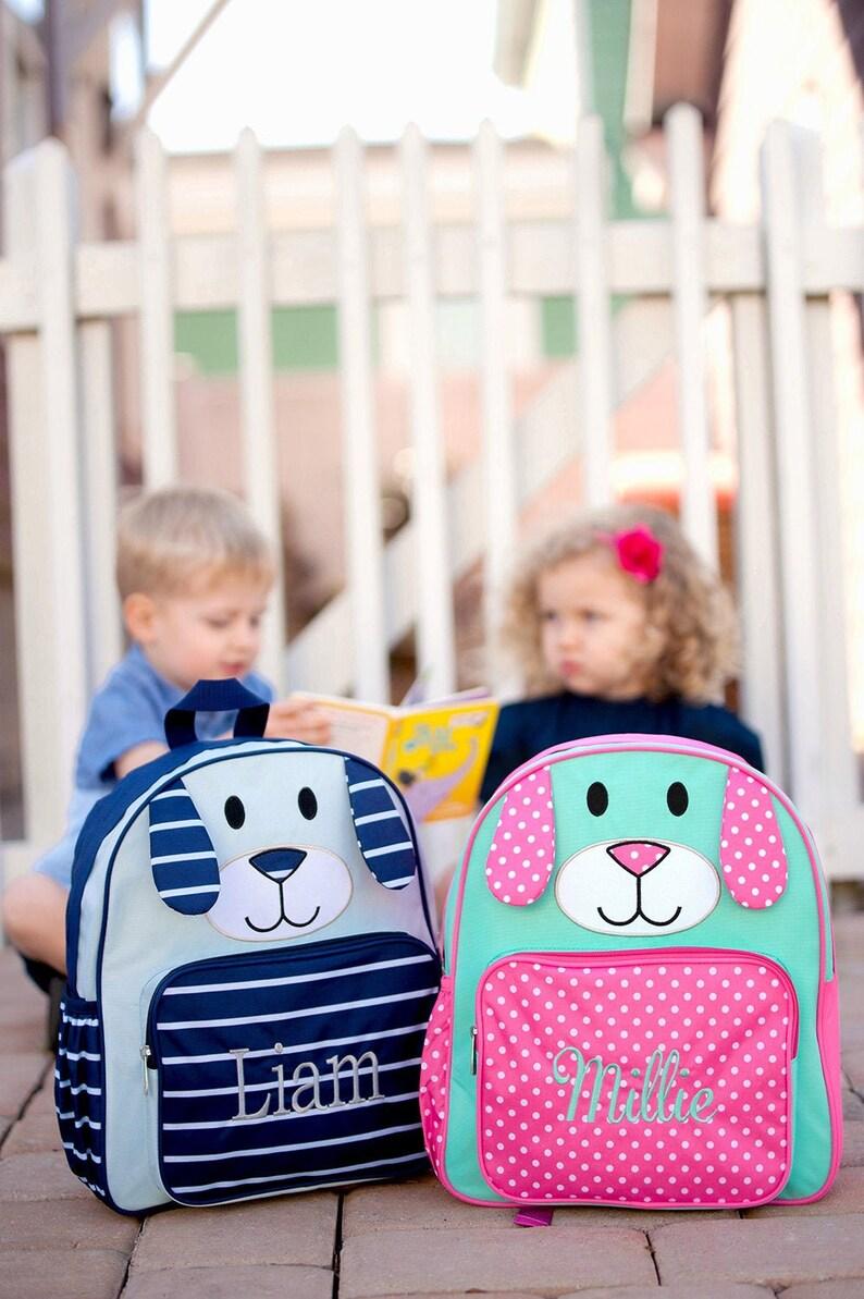 Puppy Preschool Backpack Monogram Pink Preschool Backpack image 0