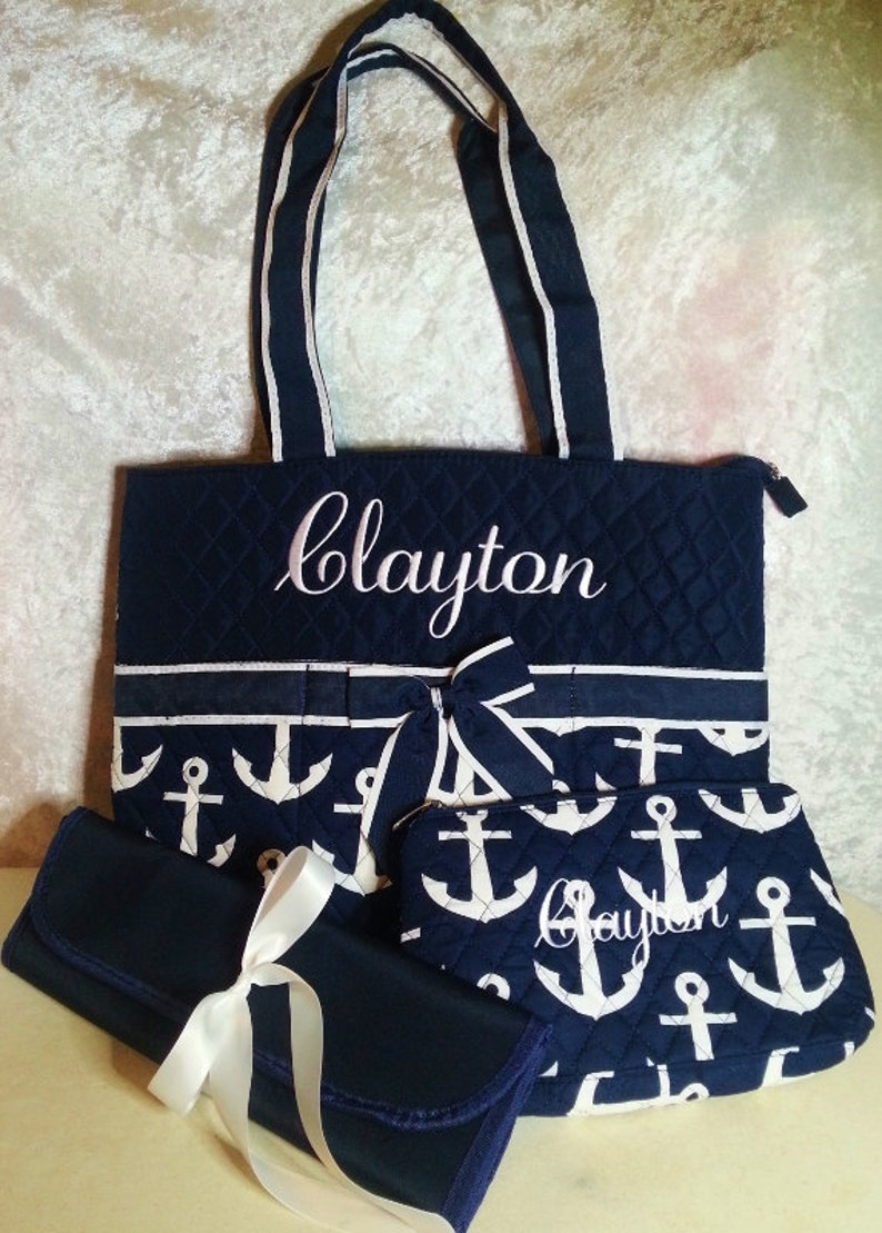 Navy Anchor Diaper Bag Zipper Pouch & Changing Pad with image 0
