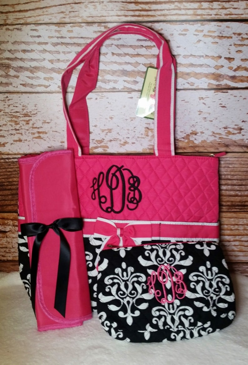 Damask Diaper Bag Zipper Pouch & Changing Pad with Monogram image 0