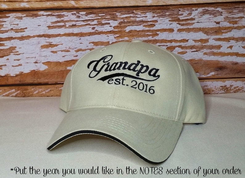 Grandpa established 2016 Hat or XXXX Embroidered Perfect for image 0