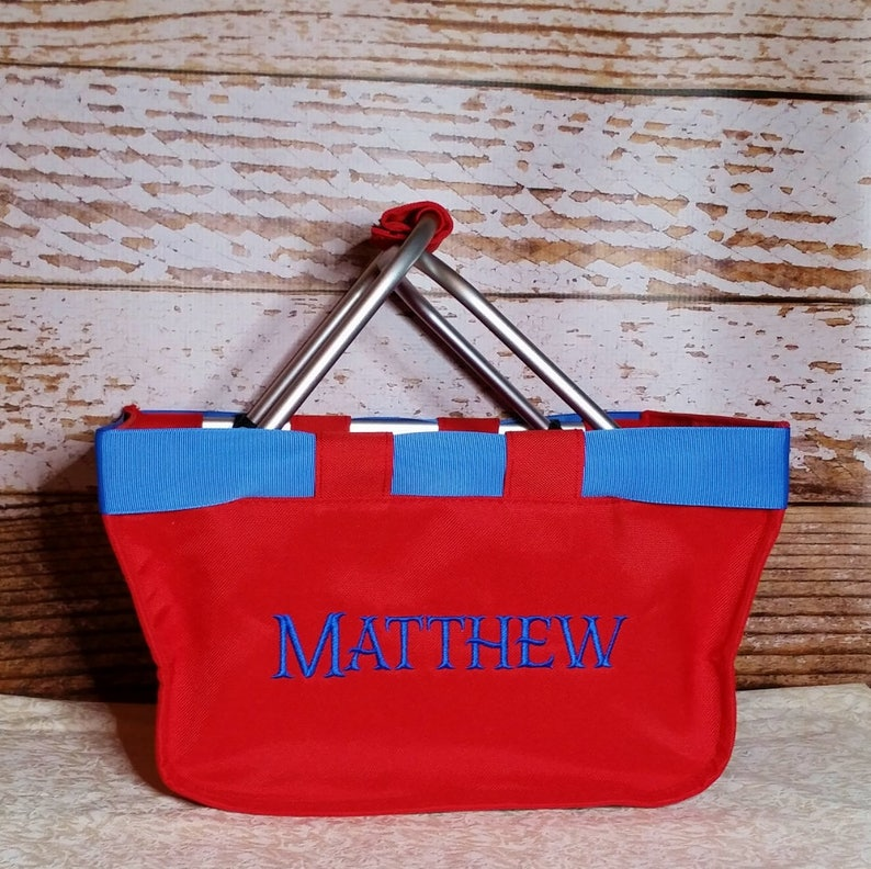 Red Mini Market Tote with Ribbon Monogrammed Personalized image 0