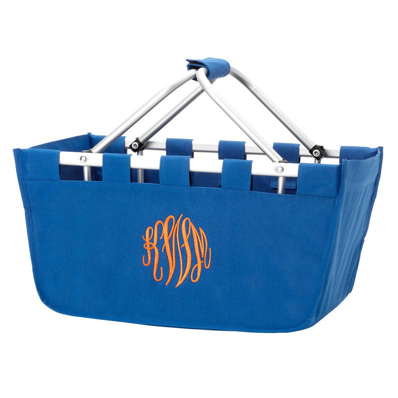 Royal Blue Market Tote with Ribbon Monogrammed Personalized in image 0