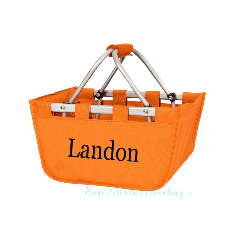 Orange Mini Market Tote with Ribbon Monogrammed Personalized image 0
