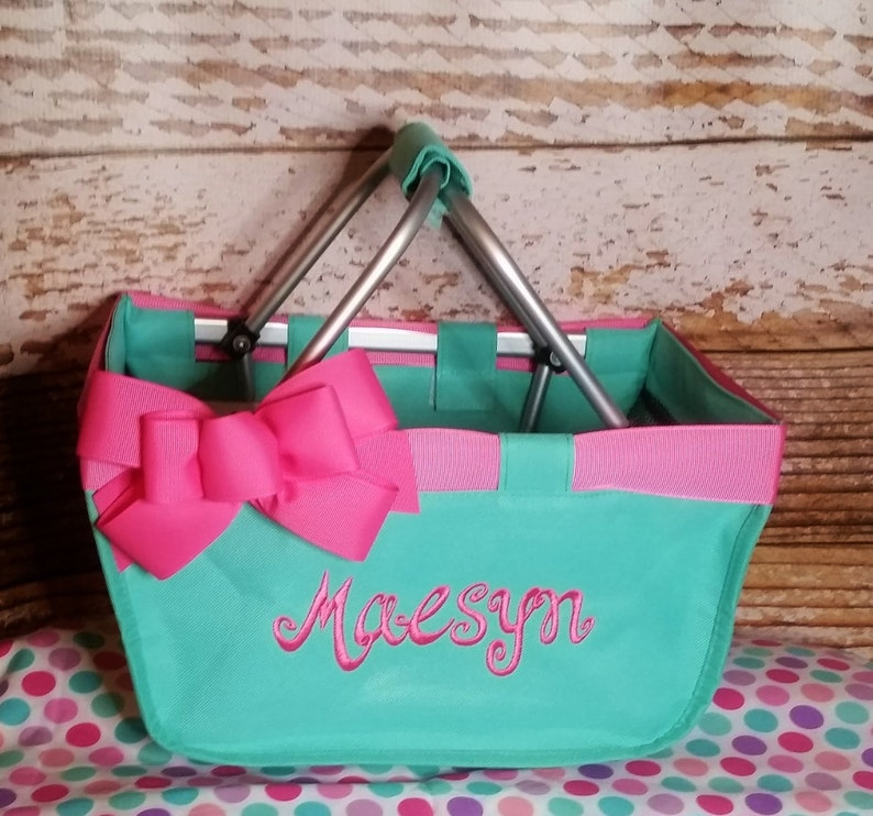 Mint Mini Market Tote with Ribbon Monogrammed Personalized image 0