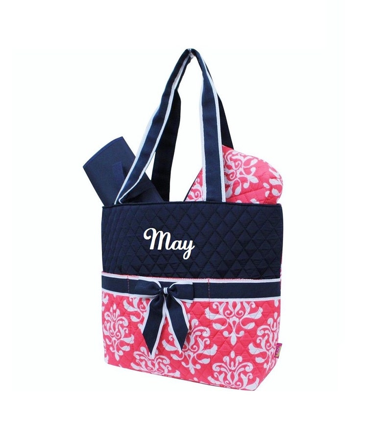 Navy with Coral Damask Diaper Bag Zipper Pouch & Changing Pad image 0