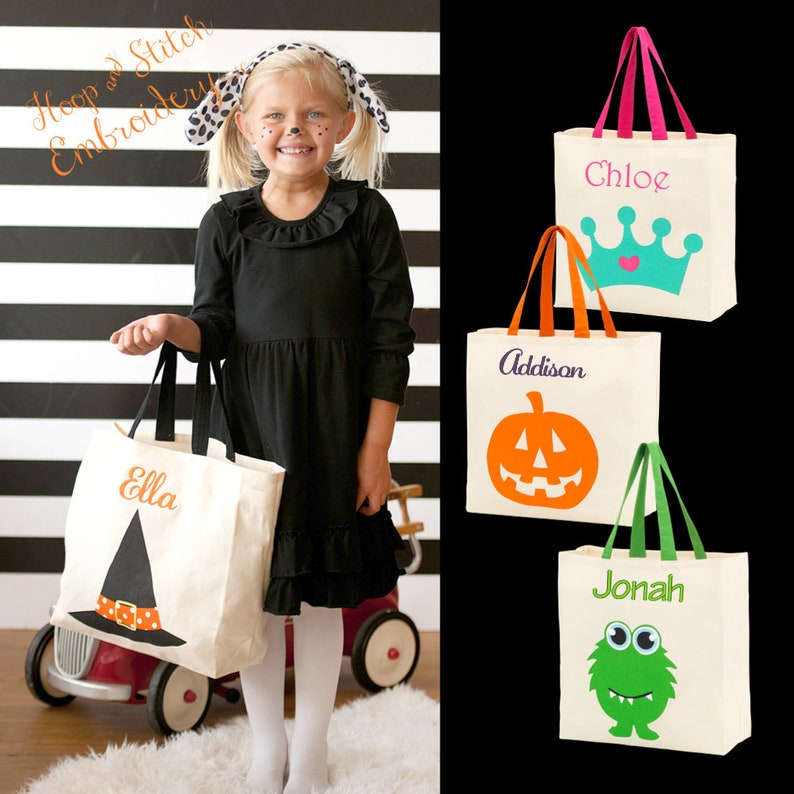 Halloween Canvas Tote with Monogram Personalized Halloween image 0