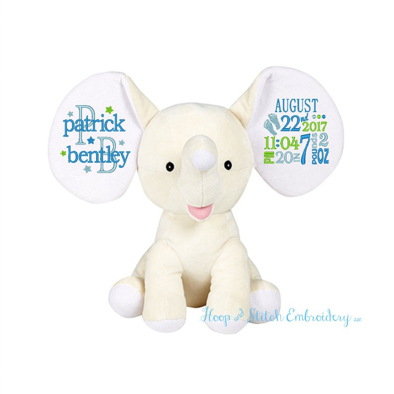 Cream Elephant Dumble Cubbies Personalized Keepsake Plush image 0