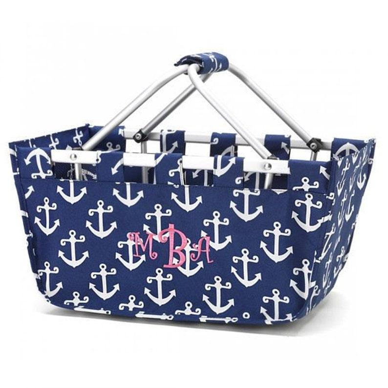 Navy Anchor Market Tote with Ribbon Monogrammed Personalized image 0