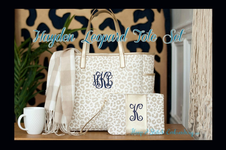 Hayden Leopard Tote Leopard Tote Bag Monogram Leopard Tote All 3 Pieces
