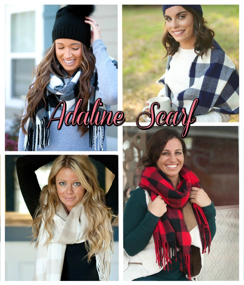 Adaline Plaid Scarf with Monogram Monogram Check Scarf image 0
