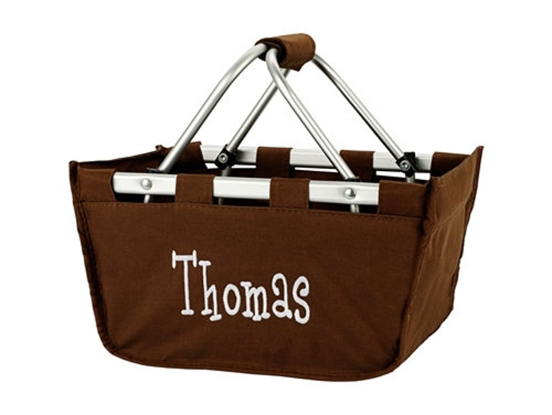 Brown Mini Market Tote with Ribbon Monogrammed Personalized image 0