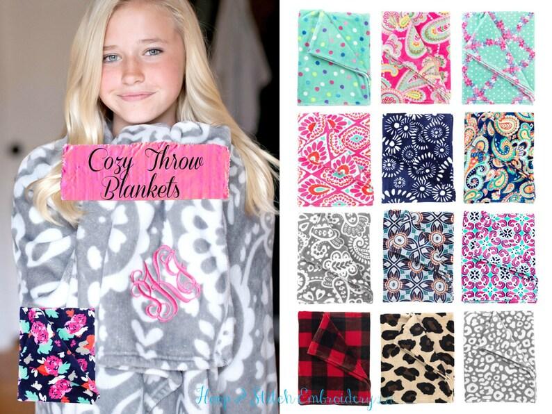 Monogram Throw Blanket Floral Blanket Paisley Blanket Throw image 0