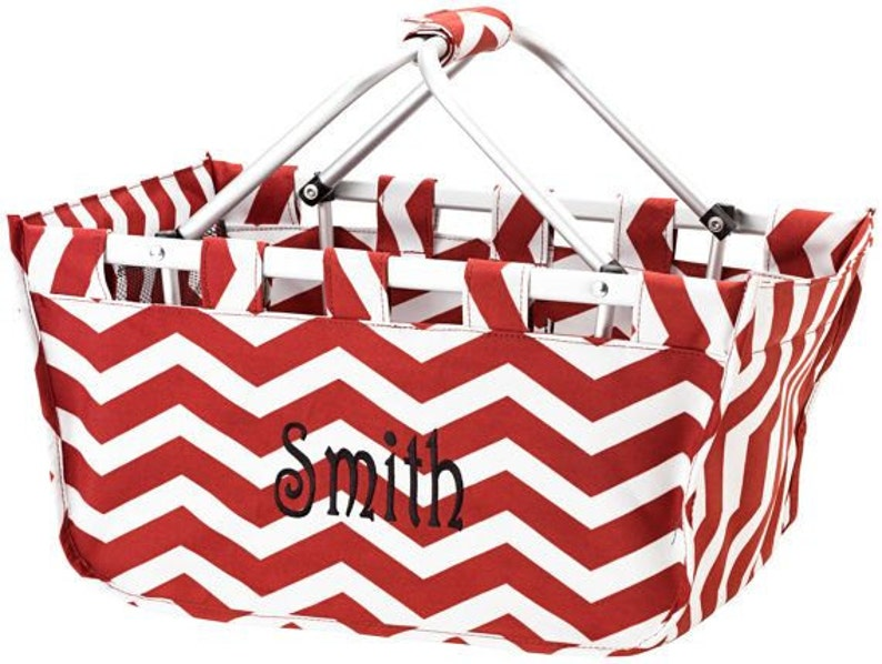 Garnet Chevron Market Tote with Ribbon Monogrammed image 0