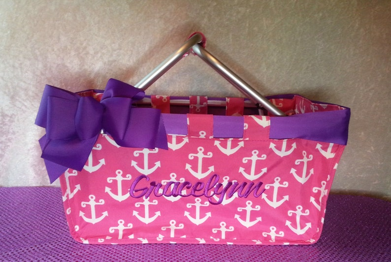 Pink Anchor Market Tote with Ribbon Monogrammed Personalized image 0
